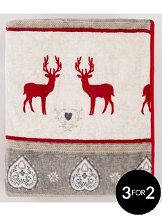 printed-christmas-reindeer-fleece-throw