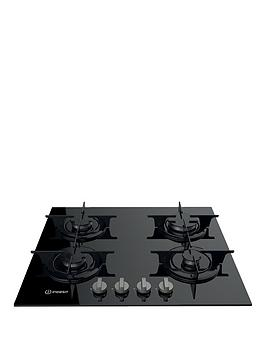 Indesit   Aria Pr642Ibkuk 60Cm Built-In Gas Hob With Fsd - Black - Hob Only