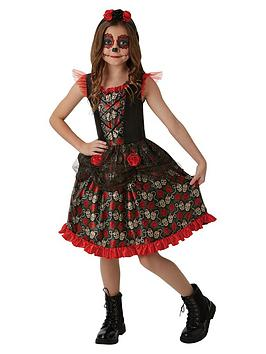childs-red-rose-day-of-the-dead-halloween-costume-9-10-years