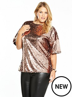 v-by-very-curve-sequin-top-rose-gold