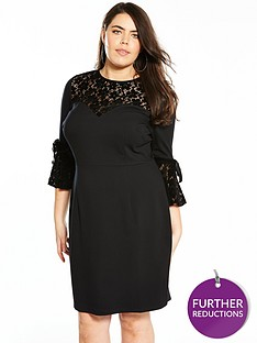 v-by-very-curve-velvet-lace-fluted-sleeve-dress-black