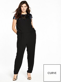 v-by-very-curve-sequin-double-layer-jumpsuit-black