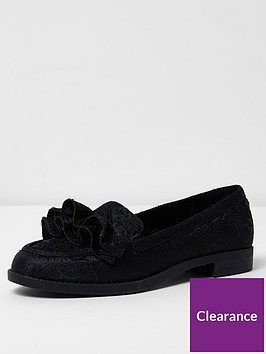 river-island-black-jaquard-ruffle-loafer