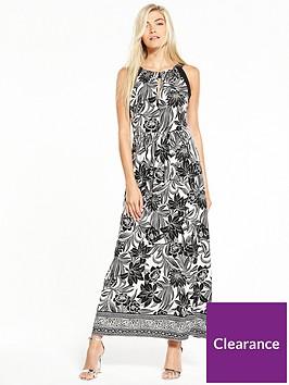 wallis-mono-leaf-blocked-maxi-dress
