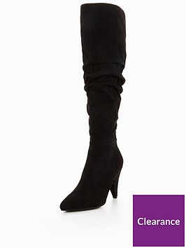 miss-selfridge-cone-heel-ruched-knee-high-boot