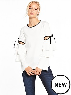 v-by-very-tiered-sleeve-bow-detail-top