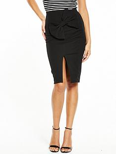 v-by-very-bow-detail-skirt-black