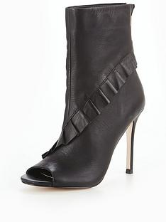 michelle-keegan-leather-ruffle-peep-toe-shoe-boot-black