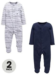 mini-v-by-very-baby-2-pk-bear-sleepsuits