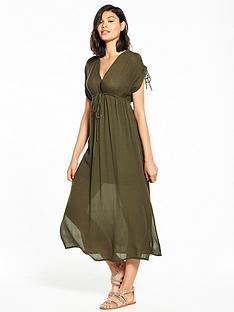 river-island-rouched-sleeve-midi-dress