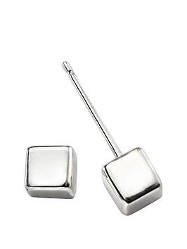 the-love-silver-collection-sterling-silver-cube-stud-earrings
