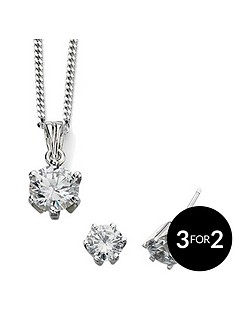 the-love-silver-collection-sterling-silver-clear-cz-round-pendant-and-stud-earring-set