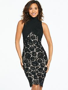 myleene-klass-ruched-chiffon-lace-midi-dress