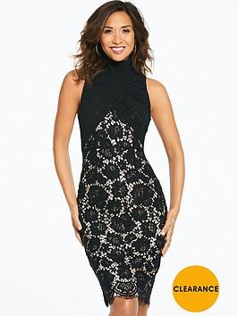 myleene-klass-ruched-chiffon-lace-midi-dress