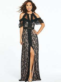 myleene-klass-cold-shoulder-lace-maxi-dress-black