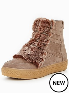 glamorous-faux-fur-lace-up-ankle-boot