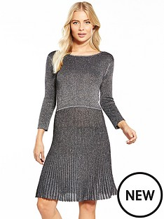 v-by-very-metallic-pleated-cut-out-back-knit-dress
