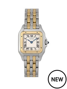 cartier-cartier-pre-owned-ladies-bimetal-panthere-2-row-quartz-watch-off-white-dial-ref-166921