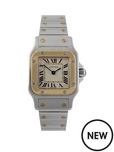 cartier-cartier-pre-owned-ladies-bimetal-santos-quartz-watch-off-white-dial-ref-1567