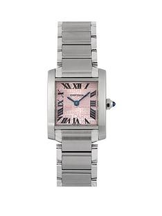 cartier-cartier-pre-owned-ladies-stainless-steel-tank-francaise-pink-mop-dial-watch-ref-2384