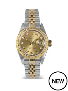 rolex-rolex-pre-owned-ladies-bimetal-datejust-watch-original-champagne-diamond-dial-reference-69173