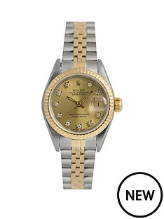 rolex-rolex-pre-owned-ladies-bimetal-datejust-watch-original-champagne-diamond-dial-reference-69173