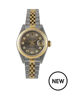 rolex-rolex-pre-owned-ladies-bimetal-datejust-watch-original-grey-diamond-dial-reference-69173