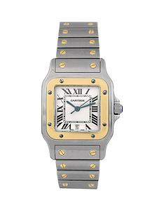 cartier-cartier-pre-owned-gents-bimetal-santos-quartz-watch-off-white-dial-ref-1566