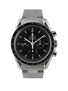 omega-pre-owned-gents-steel-speedmaster-mechanical-watch-black-dial-ref-357050