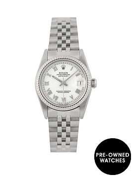rolex-rolex-pre-owned-midsize-steel-datejust-watch-white-roman-numeral-dial-reference-68274