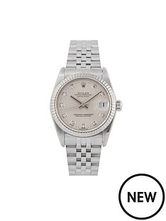rolex-rolex-pre-owned-midsize-steel-datejust-watch-silver-diamond-dial-reference-78274