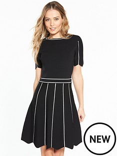 v-by-very-contrast-pointelle-detail-scallop-cuff-knitted-dress