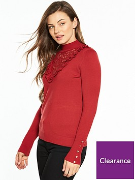 v-by-very-lace-frill-yoke-turtle-neck-button-cuff-jumper-red