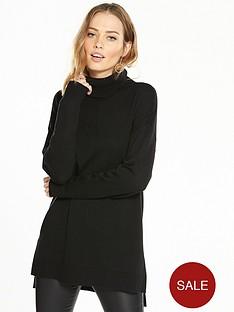 v-by-very-cowl-neck-seam-detail-stepped-hem-tunic-black
