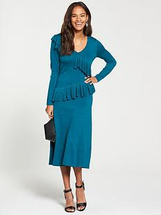 v-by-very-v-neck-ruffle-detail-fit-and-flare-knitted-dress