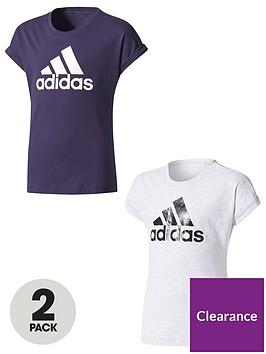 adidas-older-girls-logo-tees-pack-of-2-navygrey-heather