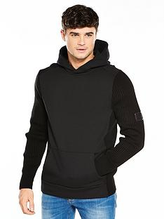 river-island-ribbed-sleeve-hooded-top