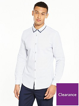 river-island-long-sleeve-double-collar-slim-shirt