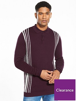 river-island-slim-side-stripe-knitted-polo