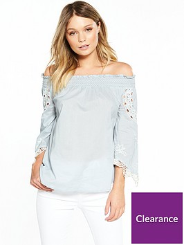 river-island-lace-sleeve-bardot-top