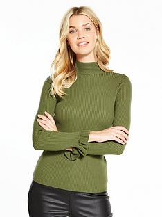 v-by-very-skinny-rib-turtleneck-frill-cuff-jumper-khaki