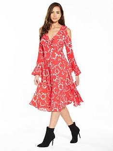 v-by-very-printed-cold-shoulder-wrap-dress