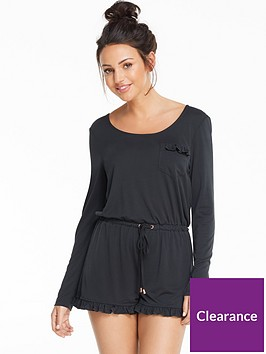 michelle-keegan-modal-long-sleeved-frill-lounge-playsuit