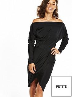 ax-paris-petite-wrap-front-off-the-shoulder-dress-black