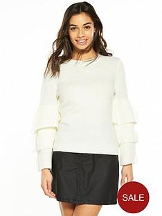 v-by-very-petite-frill-sleeve-knit-jumper-ivory