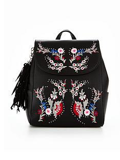 miss-selfridge-black-embroidered-backpack