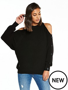 river-island-river-island-black-jumper-with-buttons