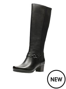 clarks-rosalynn-clara-elastic-back-wide-fit-knee-boot-black