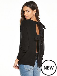 river-island-river-island-bow-backless-tie-jumper