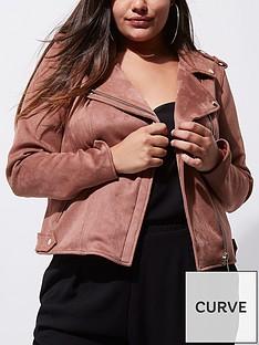 river-island-ri-plus-dark-pink-suedette-biker-jacket